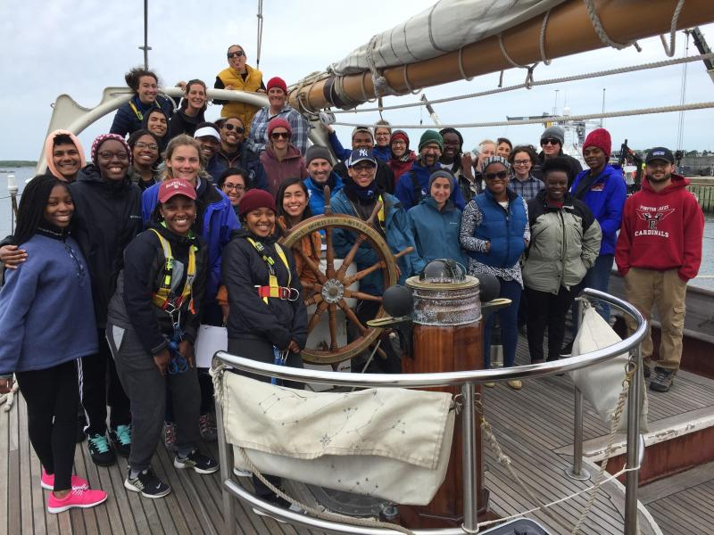 PEP students and ship's crew pose for a photo aboard the SSV Corwith Cramer in 2018.