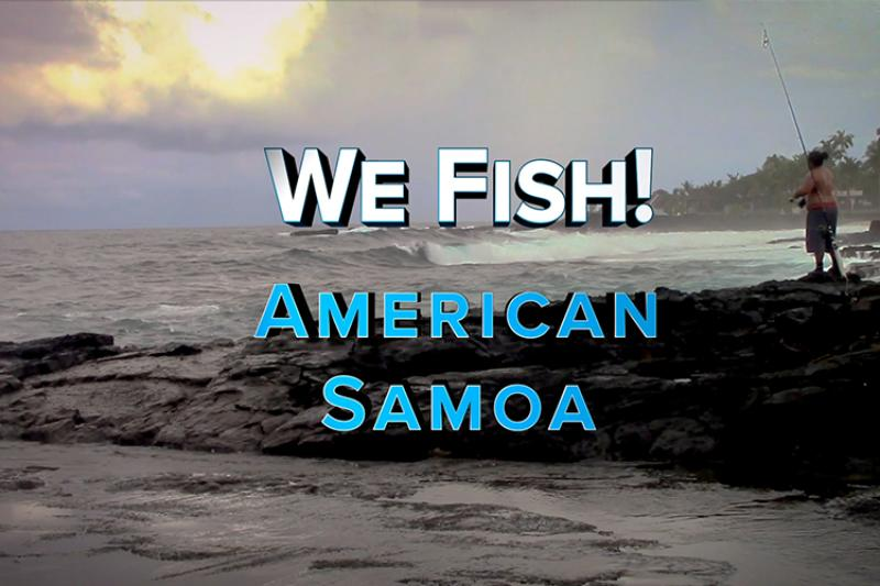 American Samoa landscape background with a man fishing near rocks. Title of video center aligned.