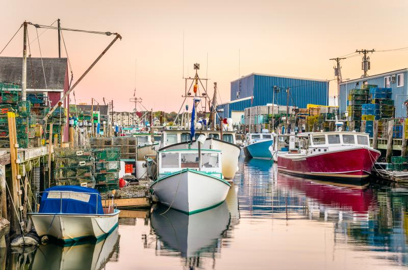 Portland fishing harbor at sunset