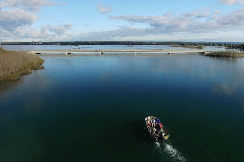 Aerial view of a river, with six people in a small boat traveling toward a bridge