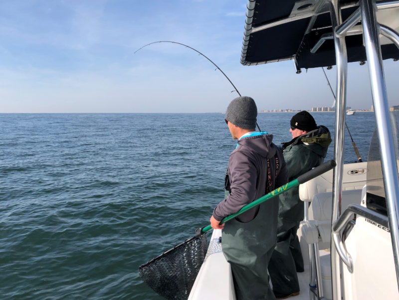 Anglers fishing for striped bass off Long Island, New York