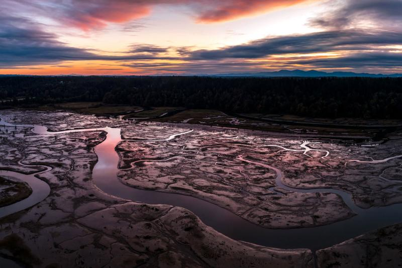 Aerial view of the Nisqually River Basin at sunset