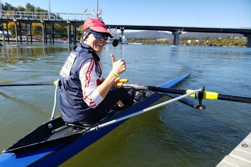 Laura Dias finishing a race in a single scull at the Head of the Hooch Regatta in Chattanooga, Tennessee.