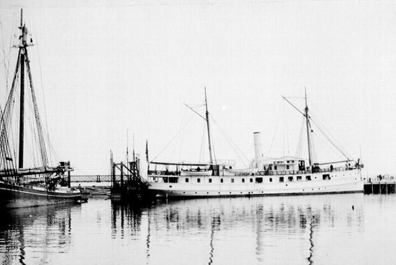 Research Vessel Fish Hawk at the Woods Hole Laboratory dock, 1896