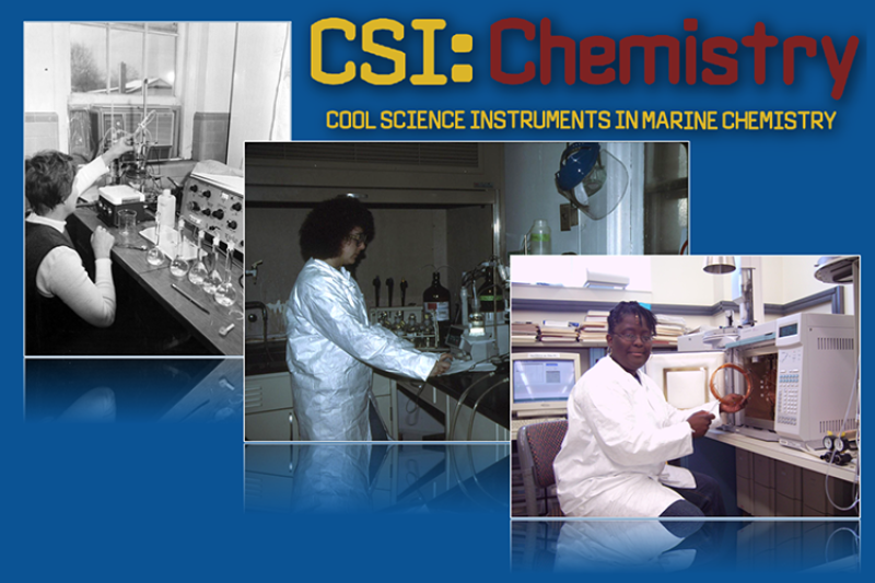 image shows three panels arranged left to right and from background to foreground. All three panels show scientists working in front of laboratory equipment. At the top the panel is labeled CSI Chemistry: Cool Science Instruments in Marine Chemistry.