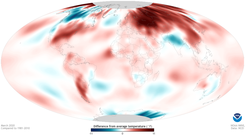 Image of a global map describing difference from average temperature for March 2020