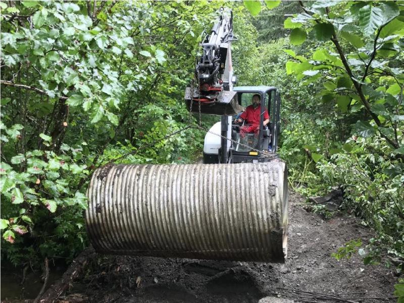 Removal of the culvert at Mink Creek, Alaska.