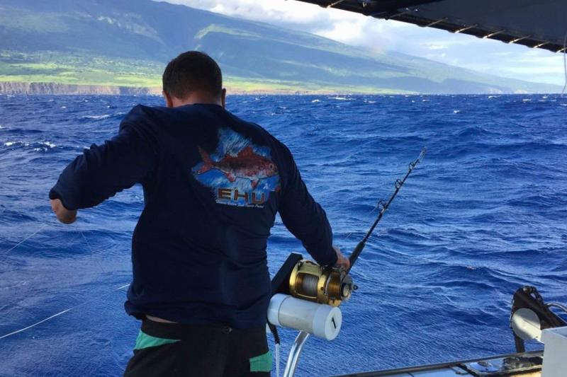 A cooperative research fisher conducts hook-and-line sampling operations in the Alenuihaha channel between Maui and Hawaii island.