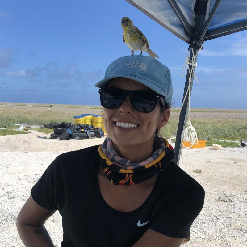 Alexa Gonzalez in the Northwestern Hawaiian Islands. A bird is sitting on her head.
