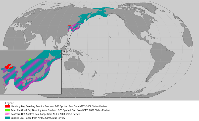 World map providing approximate representation of the Spotted seal's range