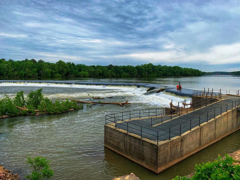 The Columbia Diversion Dam in the Broad River, South Carolina.