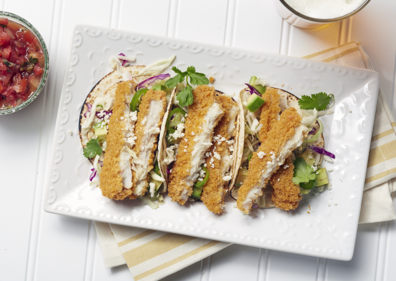 Quick and easy fish tacos. Photo courtesy of Alaska Seafood.