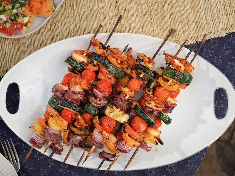 Shrimp skewers. Credit: Seafood Nutrition Partnership.