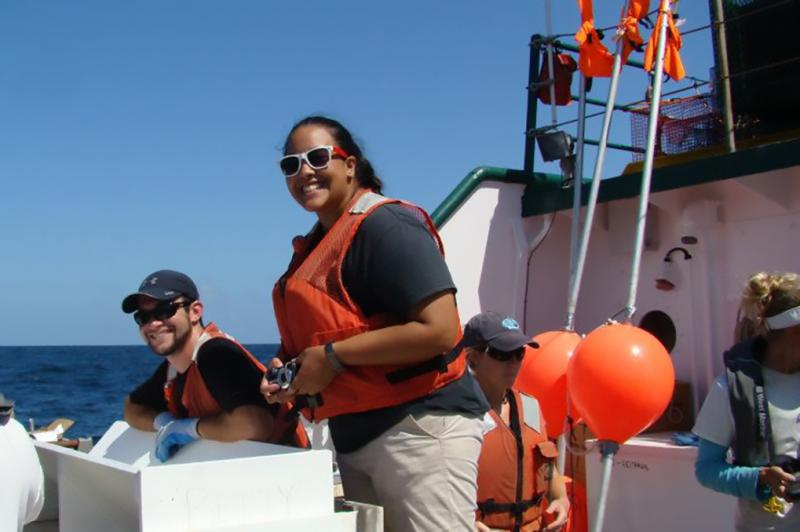 A group of research staff underway on a vessel.