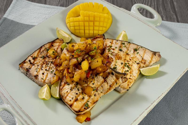 Grilled swordfish with mango chutney.