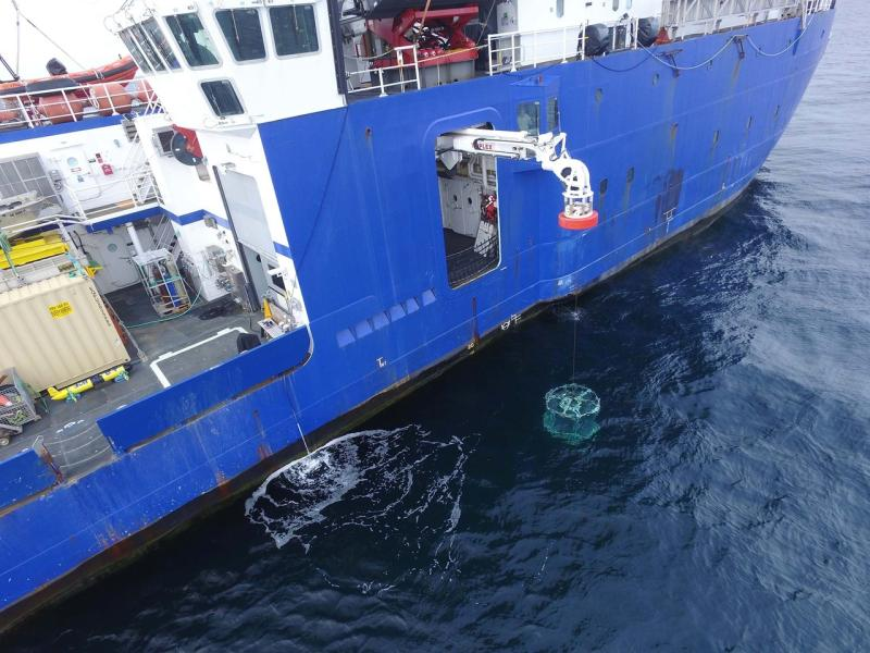 Aerial view of water sampling, crane lowering equipment off the side of the vessel.