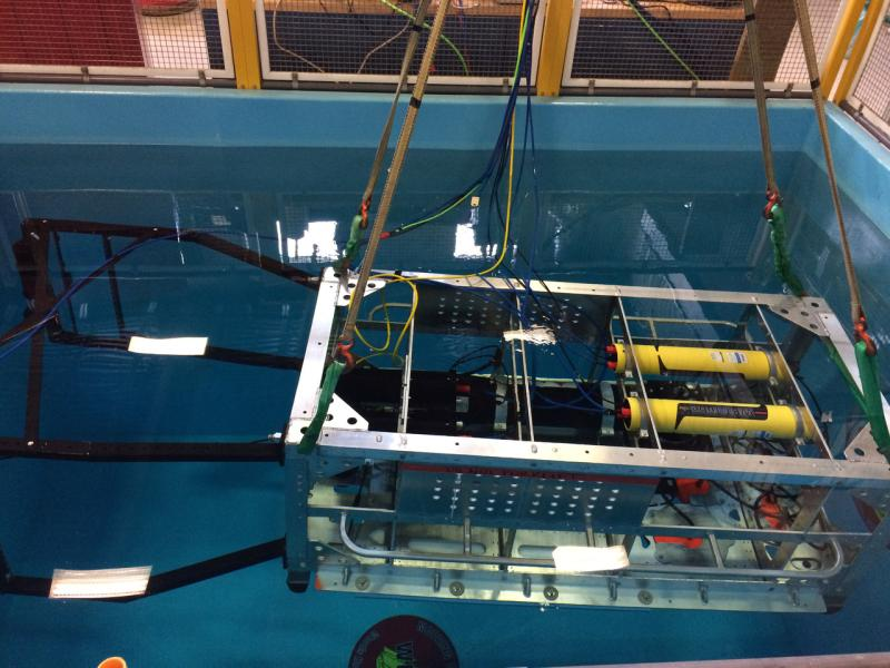 Deep See, with modified test equipment ready for testing.