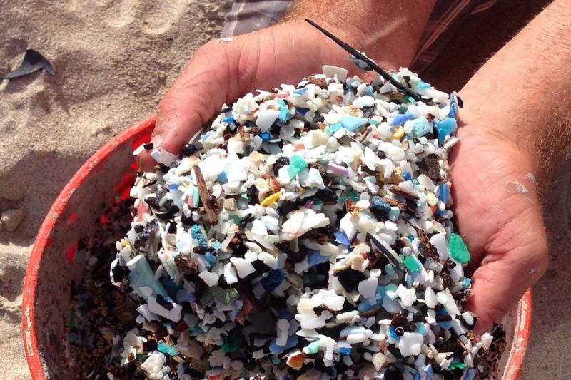 Hands holding microplastics