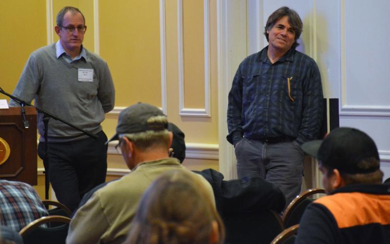 Meeting photo, Jon Hare (left),  John Manerson (right) during the forum.