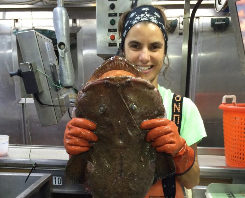 Monkfish being held by Elizabeth Marchetti