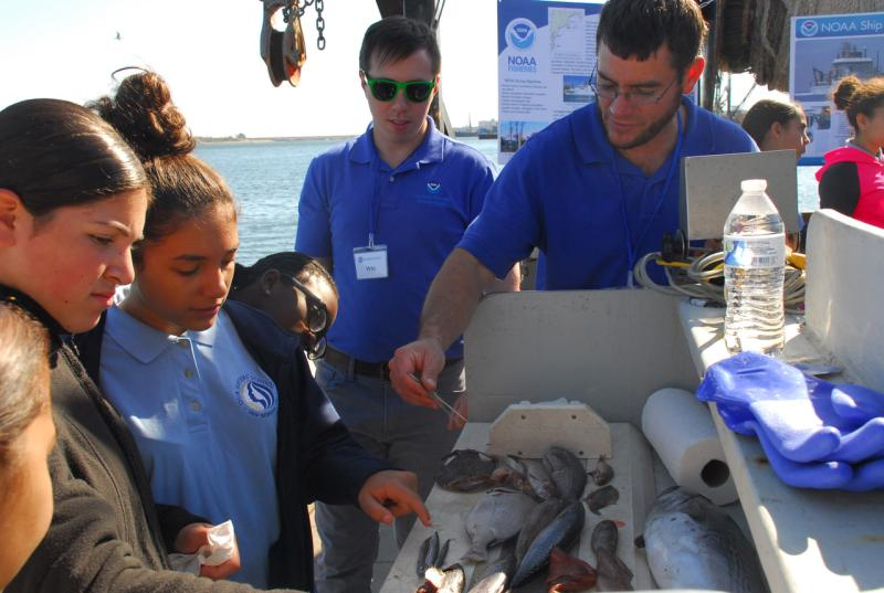 Crew describing fish samples to guests on the Gloria Michelle.