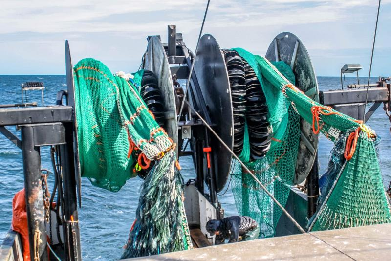 Trawl nets, side by side on stern of boat.