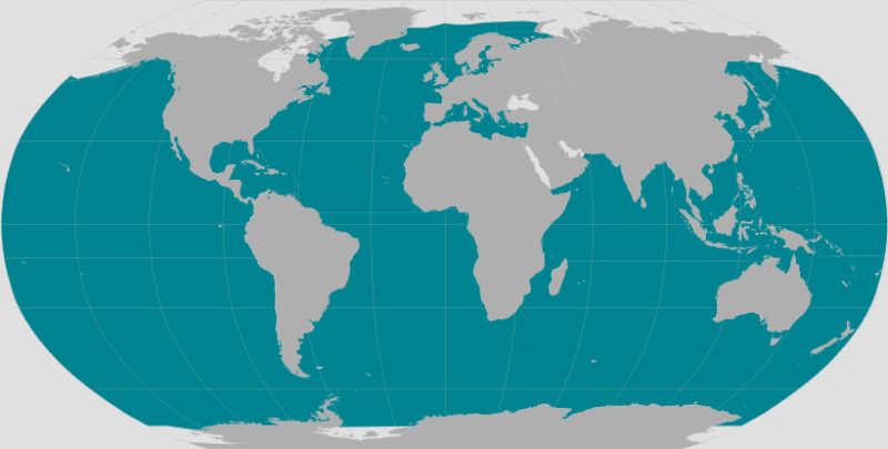Gray and teal world map showing the range of sperm whales. Teal covers most of the map except the poles.
